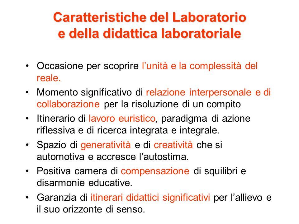 Caratteristiche del Laboratorio e della didattica laboratoriale