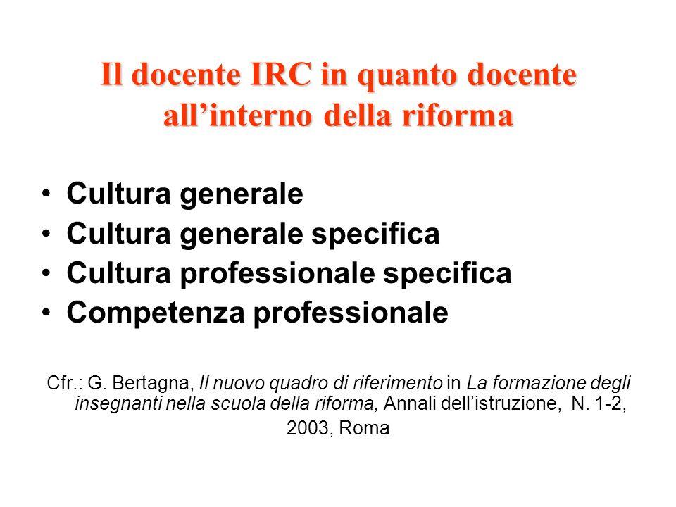 Il docente IRC in quanto docente all'interno della riforma