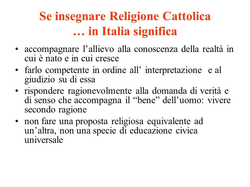 Se insegnare Religione Cattolica … in Italia significa