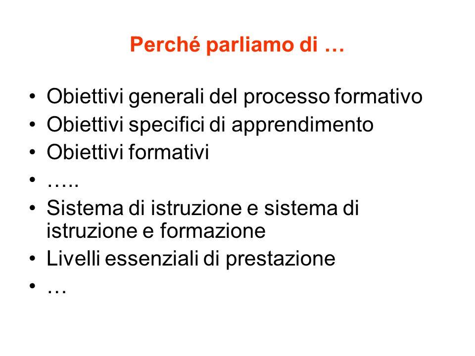 Perché parliamo di … Obiettivi generali del processo formativo. Obiettivi specifici di apprendimento.