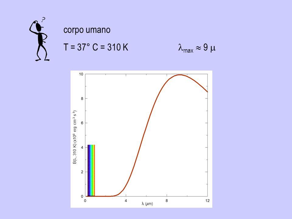 corpo umano T = 37° C = 310 K lmax  9 m