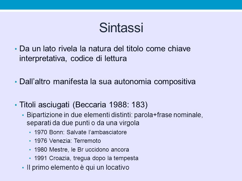 Sintassi Da un lato rivela la natura del titolo come chiave interpretativa, codice di lettura. Dall'altro manifesta la sua autonomia compositiva.