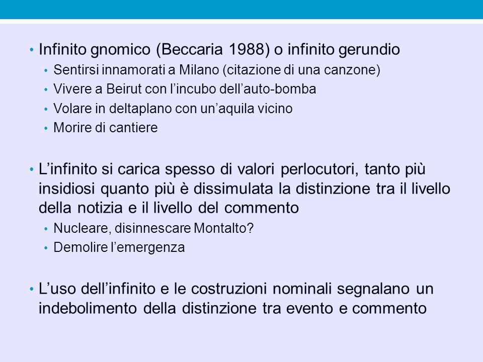 Infinito gnomico (Beccaria 1988) o infinito gerundio