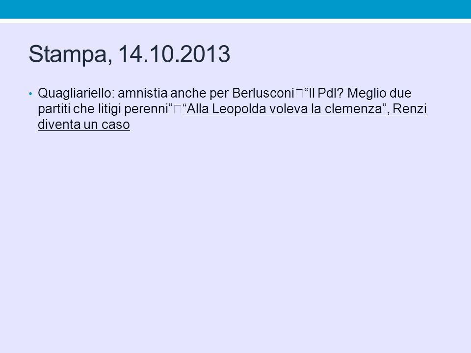 Stampa, 14.10.2013