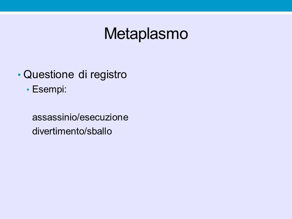 Metaplasmo Questione di registro Esempi: assassinio/esecuzione