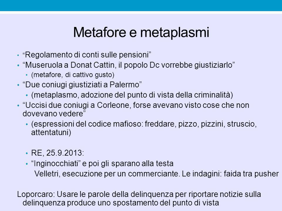 Metafore e metaplasmi Regolamento di conti sulle pensioni Museruola a Donat Cattin, il popolo Dc vorrebbe giustiziarlo