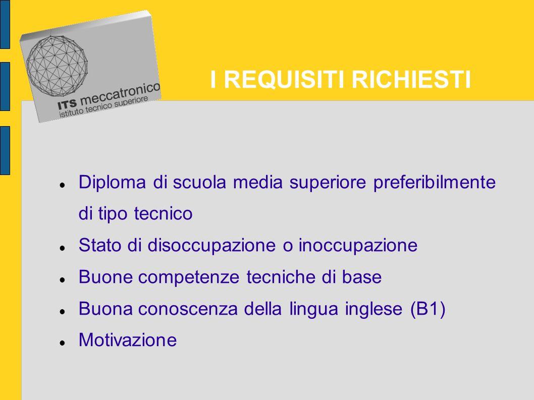 I REQUISITI RICHIESTI Diploma di scuola media superiore preferibilmente di tipo tecnico. Stato di disoccupazione o inoccupazione.