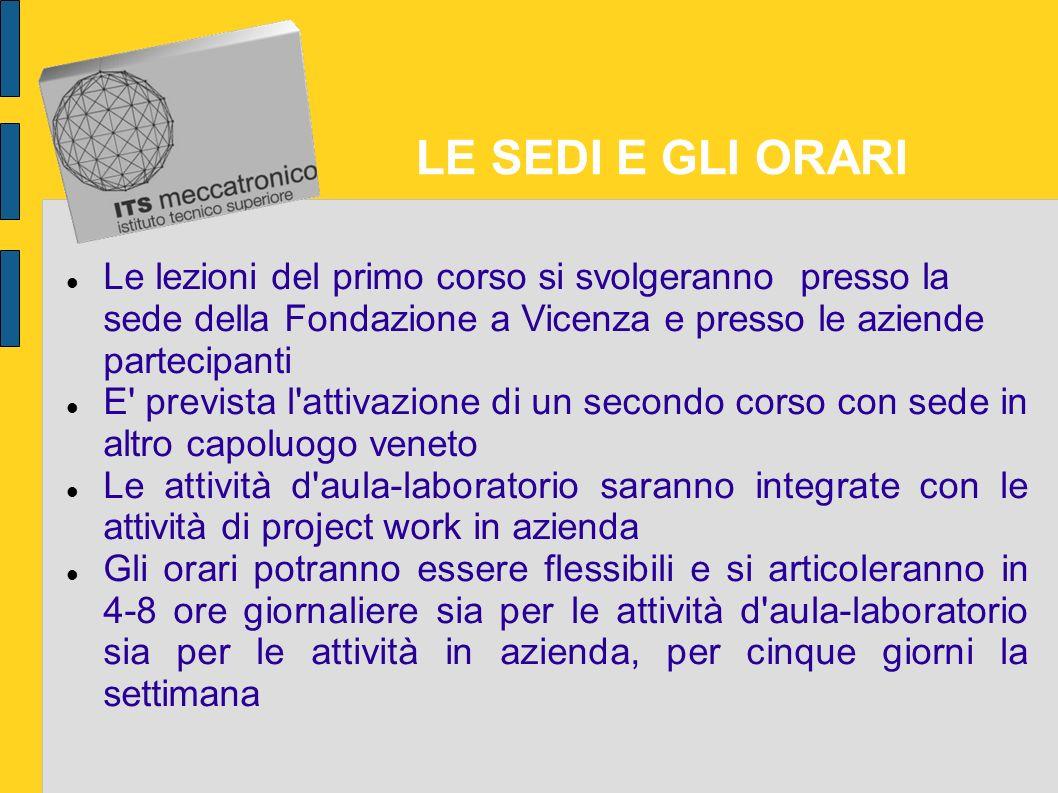 LE SEDI E GLI ORARI Le lezioni del primo corso si svolgeranno presso la sede della Fondazione a Vicenza e presso le aziende partecipanti.