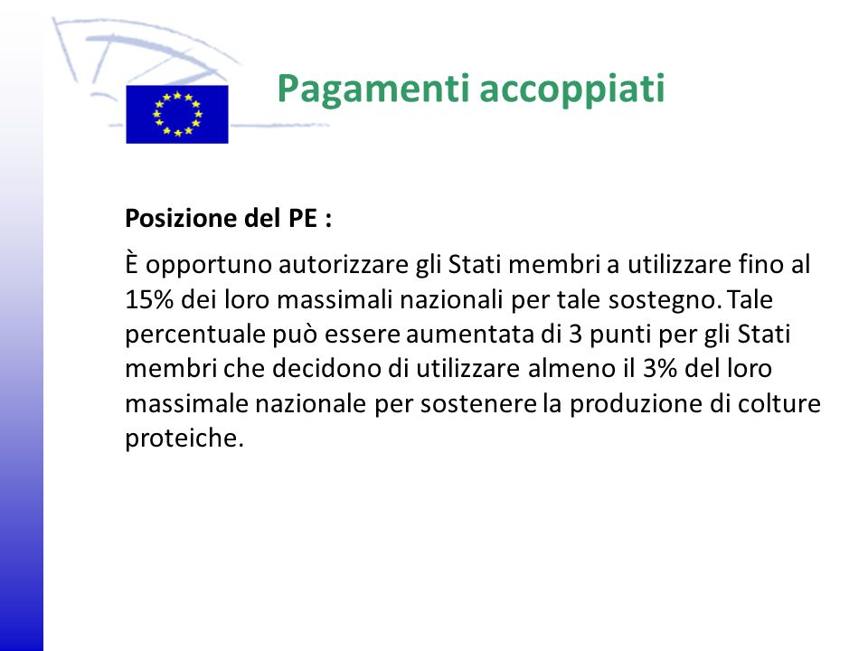 Pagamenti accoppiati Posizione del PE :