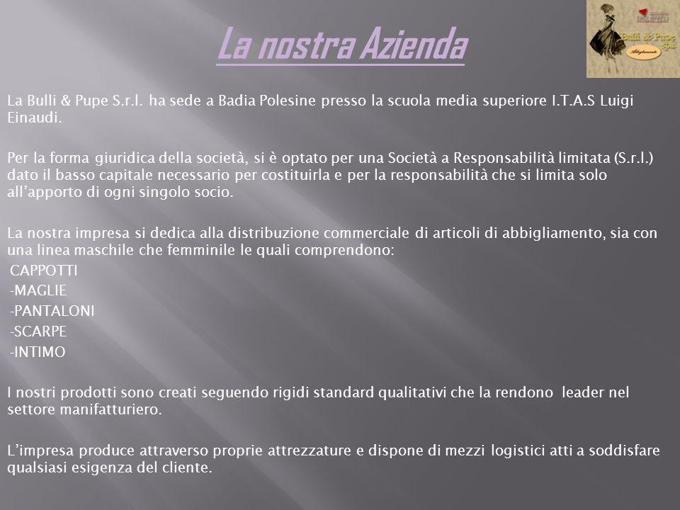 La nostra AziendaLa Bulli & Pupe S.r.l. ha sede a Badia Polesine presso la scuola media superiore I.T.A.S Luigi Einaudi.