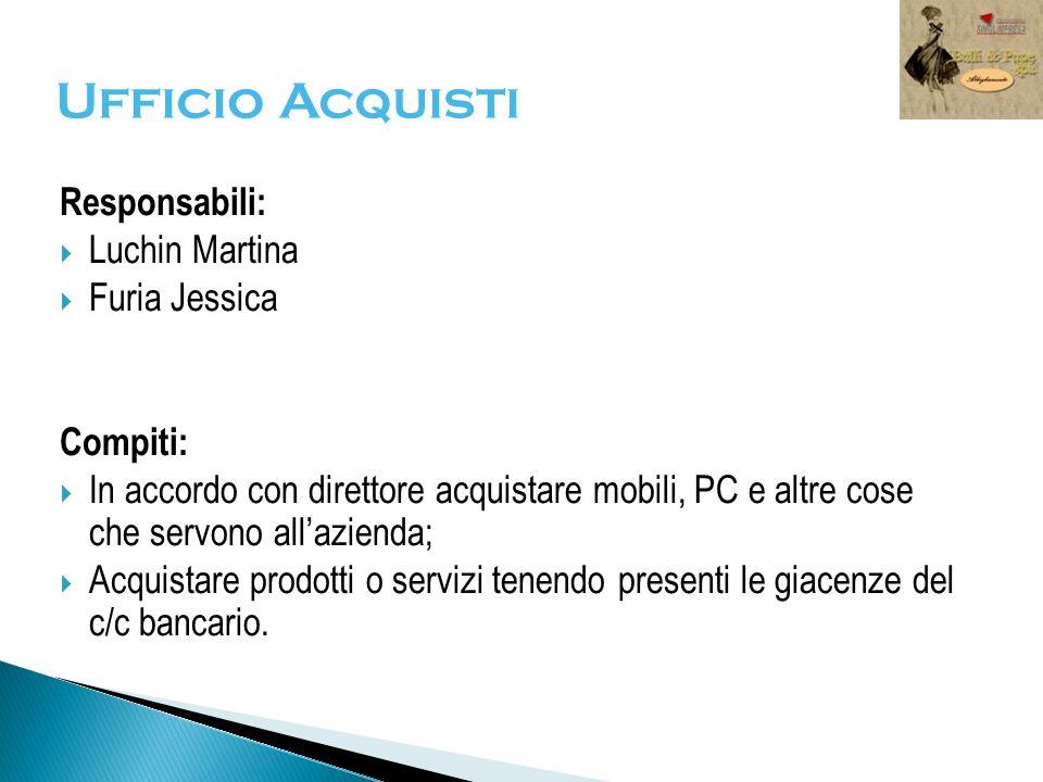 Ufficio Acquisti Responsabili: Luchin Martina Furia Jessica Compiti: