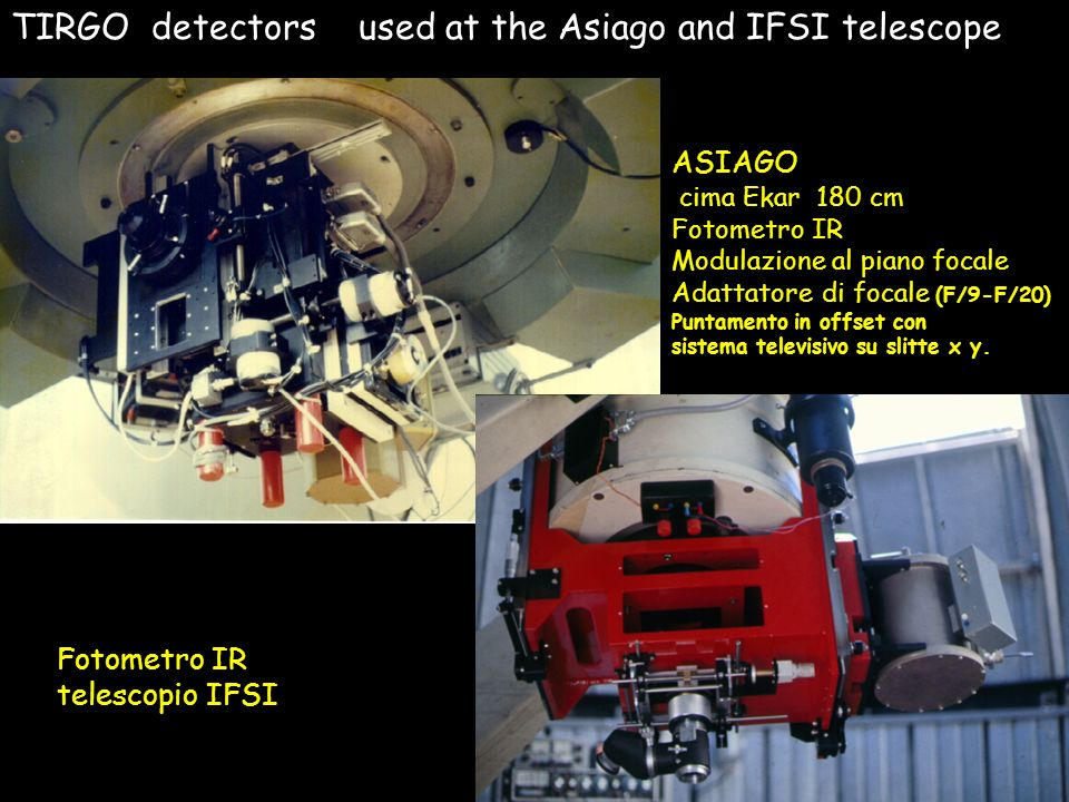TIRGO detectors used at the Asiago and IFSI telescope