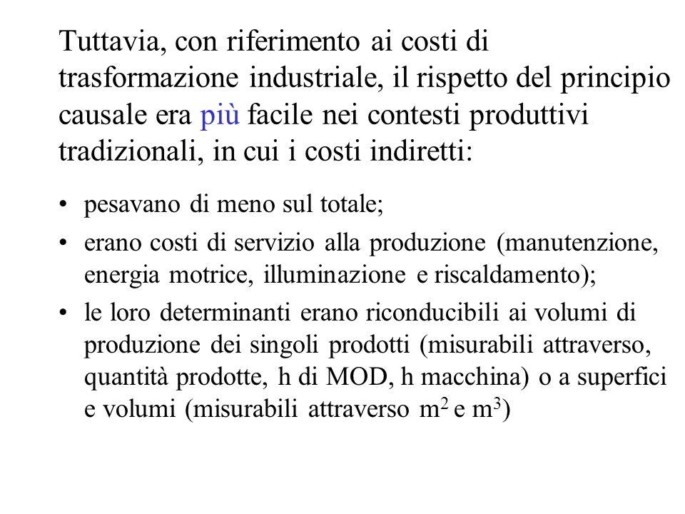 Tuttavia, con riferimento ai costi di trasformazione industriale, il rispetto del principio causale era più facile nei contesti produttivi tradizionali, in cui i costi indiretti: