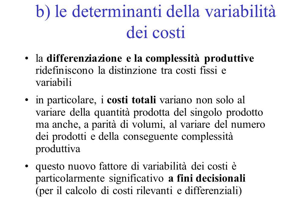 b) le determinanti della variabilità dei costi