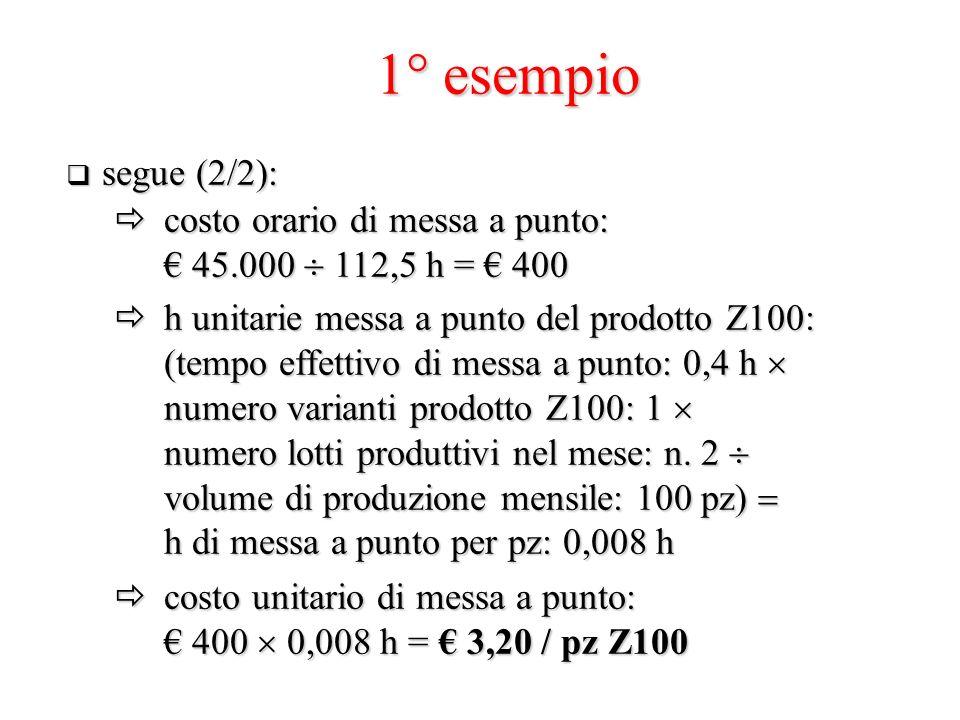 1° esempio segue (2/2): costo orario di messa a punto: