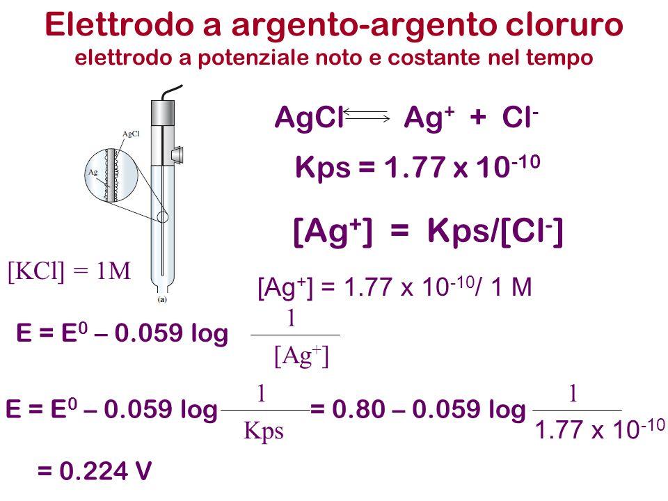 Elettrodo a argento-argento cloruro elettrodo a potenziale noto e costante nel tempo