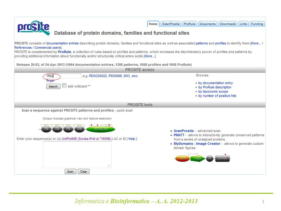Informatica e Bioinformatica – A. A. 2012-2013