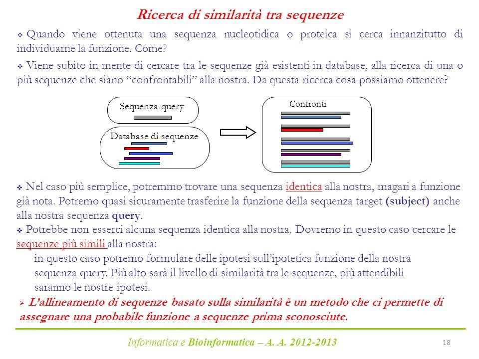 Ricerca di similarità tra sequenze