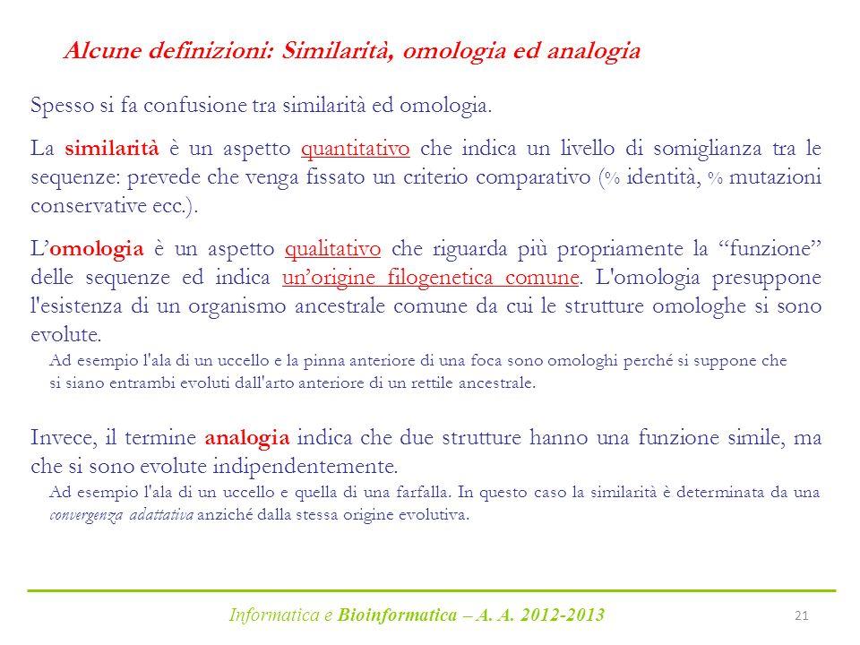Alcune definizioni: Similarità, omologia ed analogia