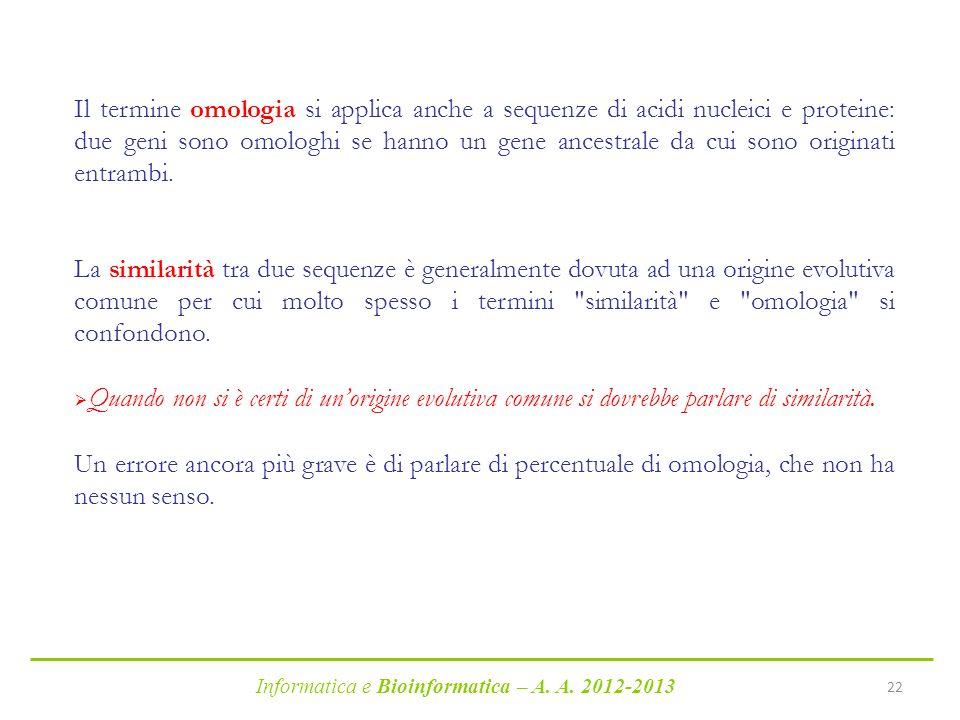 Il termine omologia si applica anche a sequenze di acidi nucleici e proteine: due geni sono omologhi se hanno un gene ancestrale da cui sono originati entrambi.