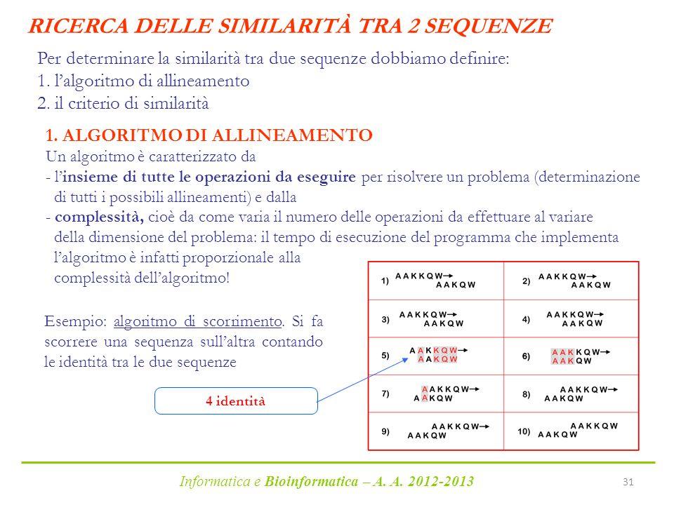 RICERCA DELLE SIMILARITÀ TRA 2 SEQUENZE