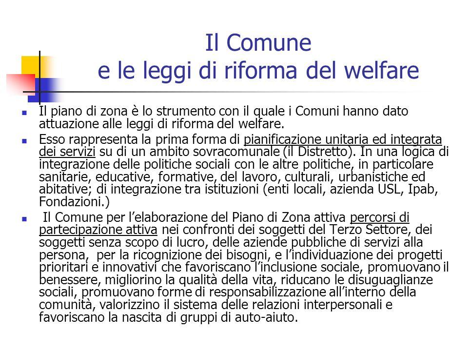 Il Comune e le leggi di riforma del welfare