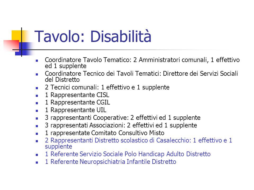 Tavolo: Disabilità Coordinatore Tavolo Tematico: 2 Amministratori comunali, 1 effettivo ed 1 supplente.