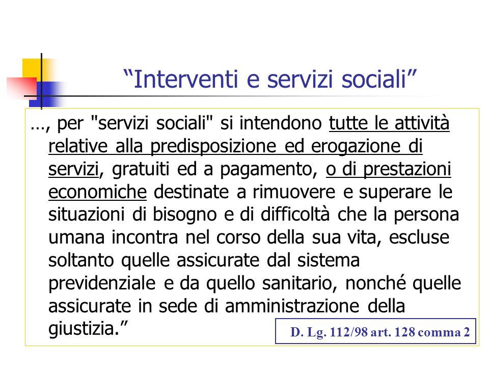 Interventi e servizi sociali
