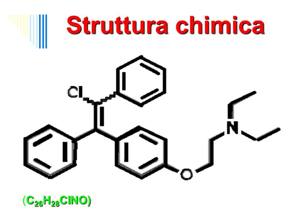 Struttura chimica 2-(4-(2-chloro-1,2-diphenylethenyl) phenoxy)-N,N-diethyl-ethanamine (C26H28CINO)