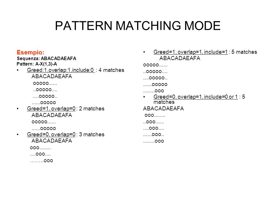 PATTERN MATCHING MODE Esempio: