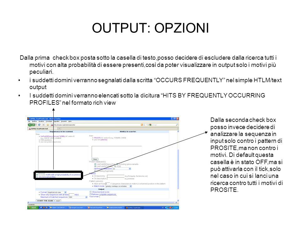 OUTPUT: OPZIONI