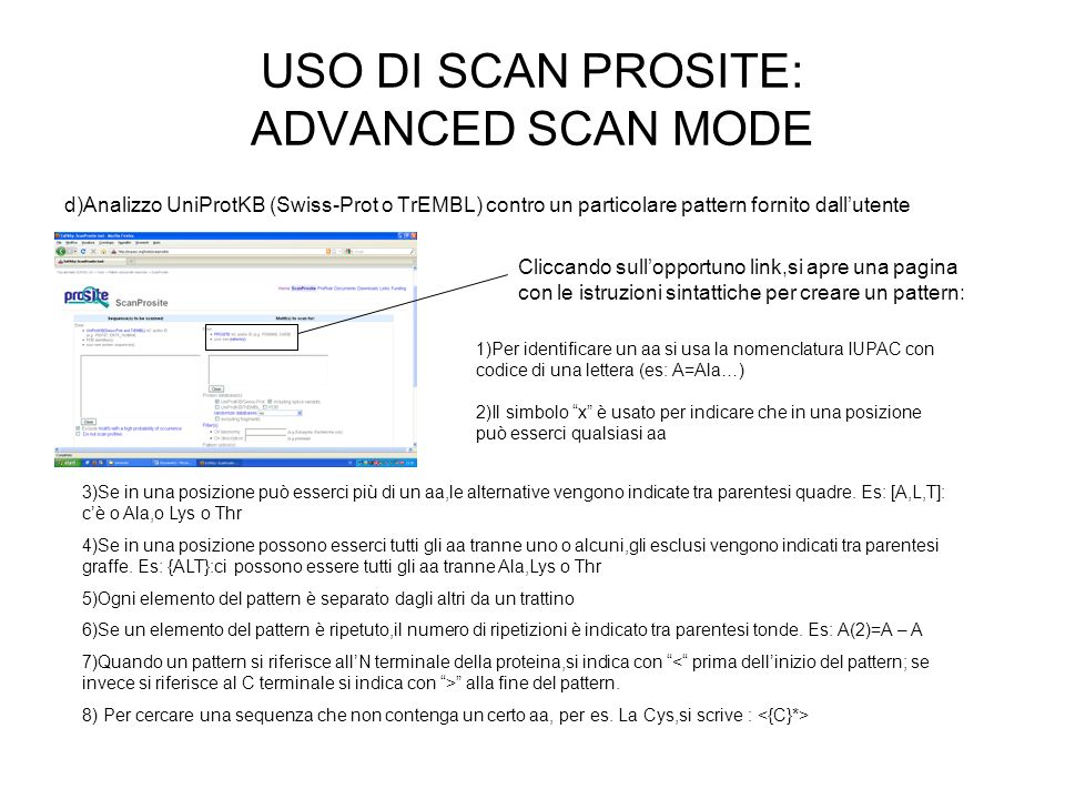 USO DI SCAN PROSITE: ADVANCED SCAN MODE