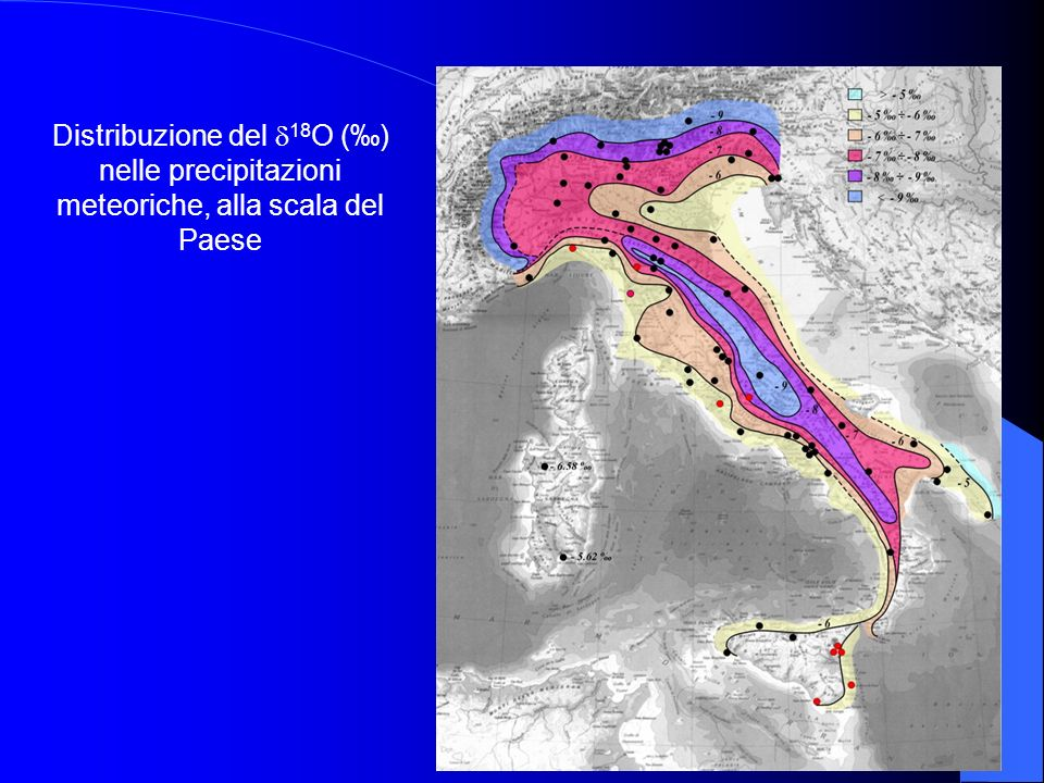 Distribuzione del 18O (‰) nelle precipitazioni meteoriche, alla scala del Paese