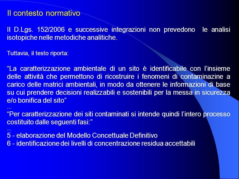 Il contesto normativo Il D.Lgs. 152/2006 e successive integrazioni non prevedono le analisi isotopiche nelle metodiche analitiche.