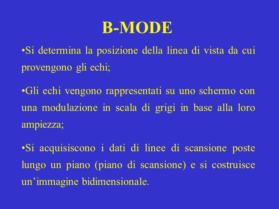 B-MODE Si determina la posizione della linea di vista da cui provengono gli echi;