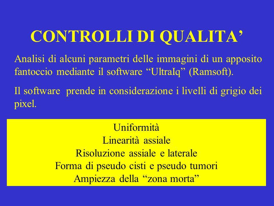 CONTROLLI DI QUALITA' Analisi di alcuni parametri delle immagini di un apposito fantoccio mediante il software UltraIq (Ramsoft).