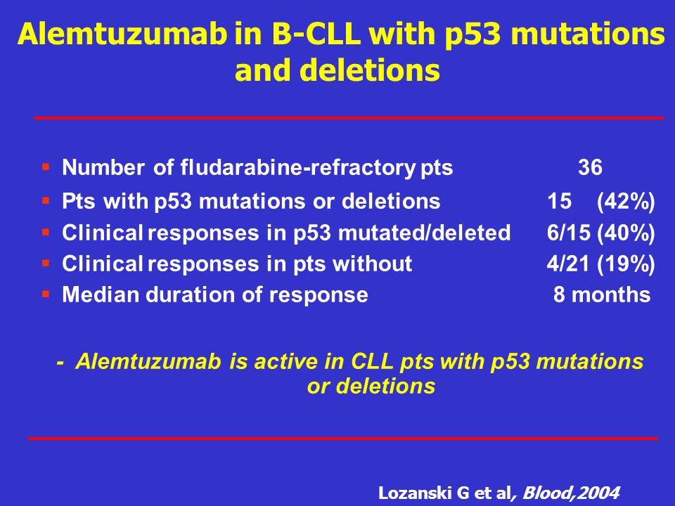 Alemtuzumab in B-CLL with p53 mutations and deletions
