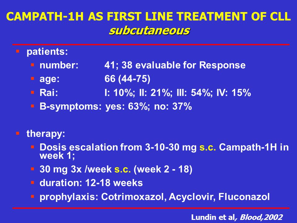 CAMPATH-1H AS FIRST LINE TREATMENT OF CLL