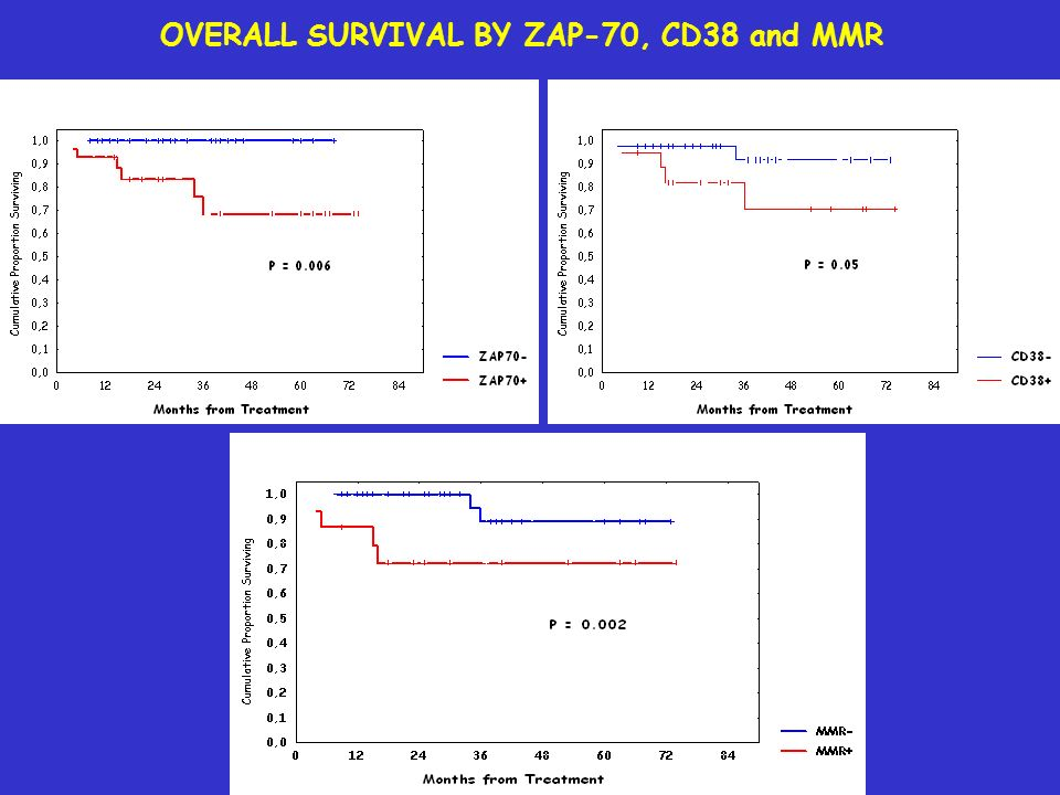 OVERALL SURVIVAL BY ZAP-70, CD38 and MMR
