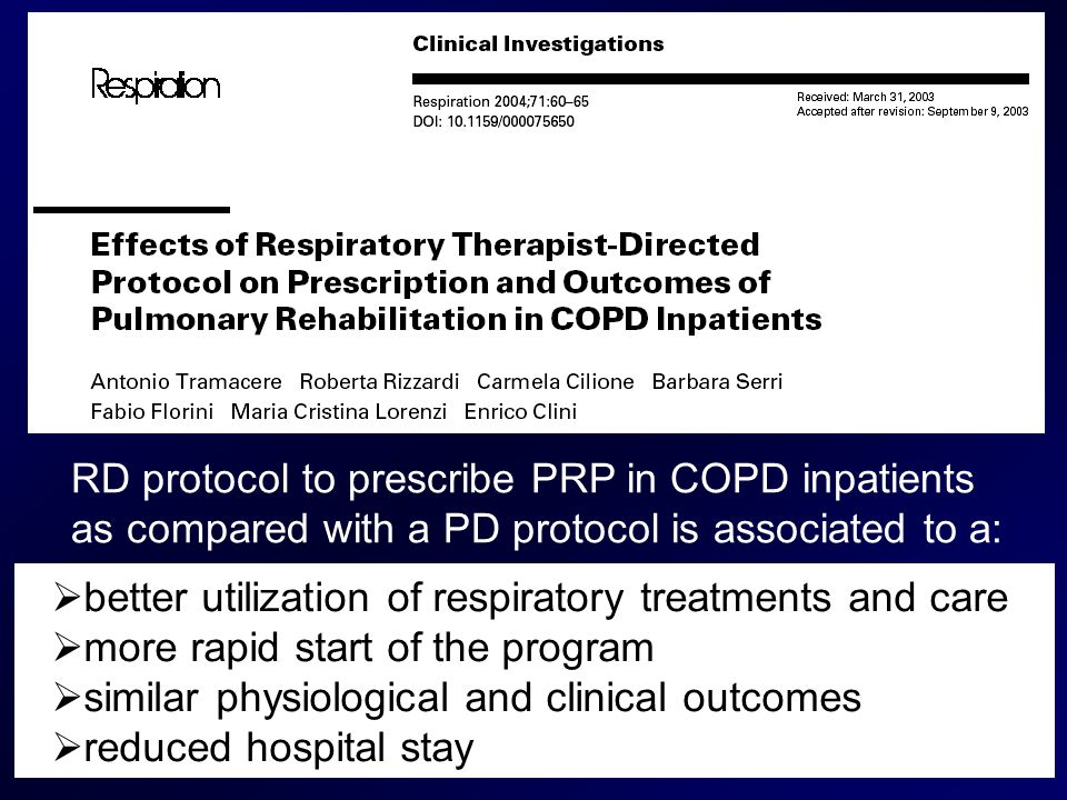 RD protocol to prescribe PRP in COPD inpatients