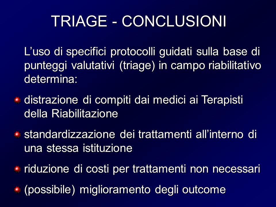 TRIAGE - CONCLUSIONIL'uso di specifici protocolli guidati sulla base di punteggi valutativi (triage) in campo riabilitativo determina: