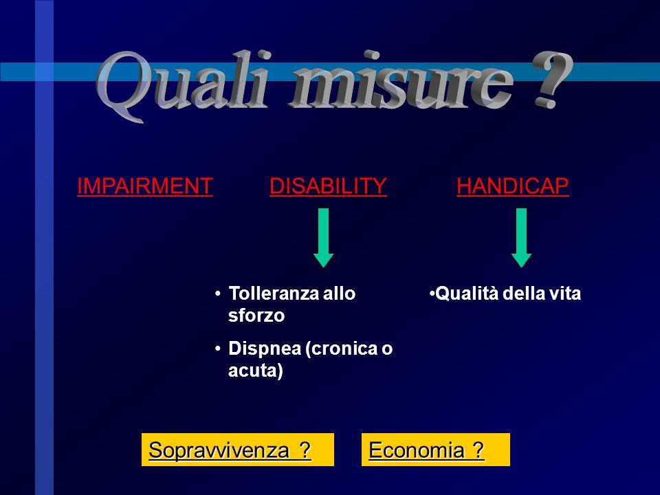 Quali misure IMPAIRMENT DISABILITY HANDICAP Sopravvivenza
