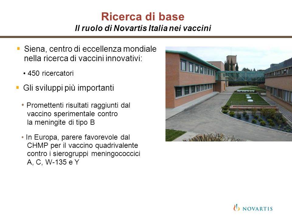 Ricerca di base Il ruolo di Novartis Italia nei vaccini