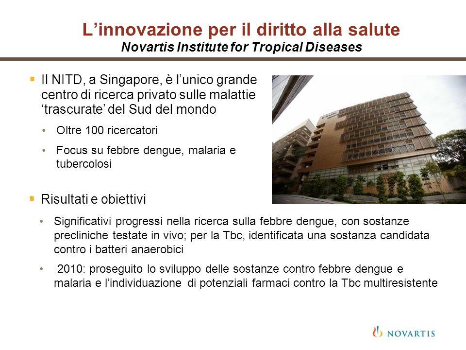 L'innovazione per il diritto alla salute Novartis Institute for Tropical Diseases