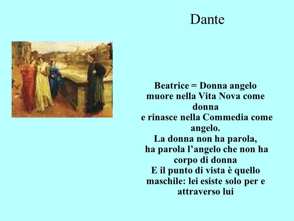 Dante Beatrice = Donna angelo muore nella Vita Nova come donna e rinasce nella Commedia come angelo.