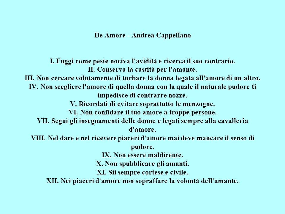 De Amore - Andrea Cappellano I