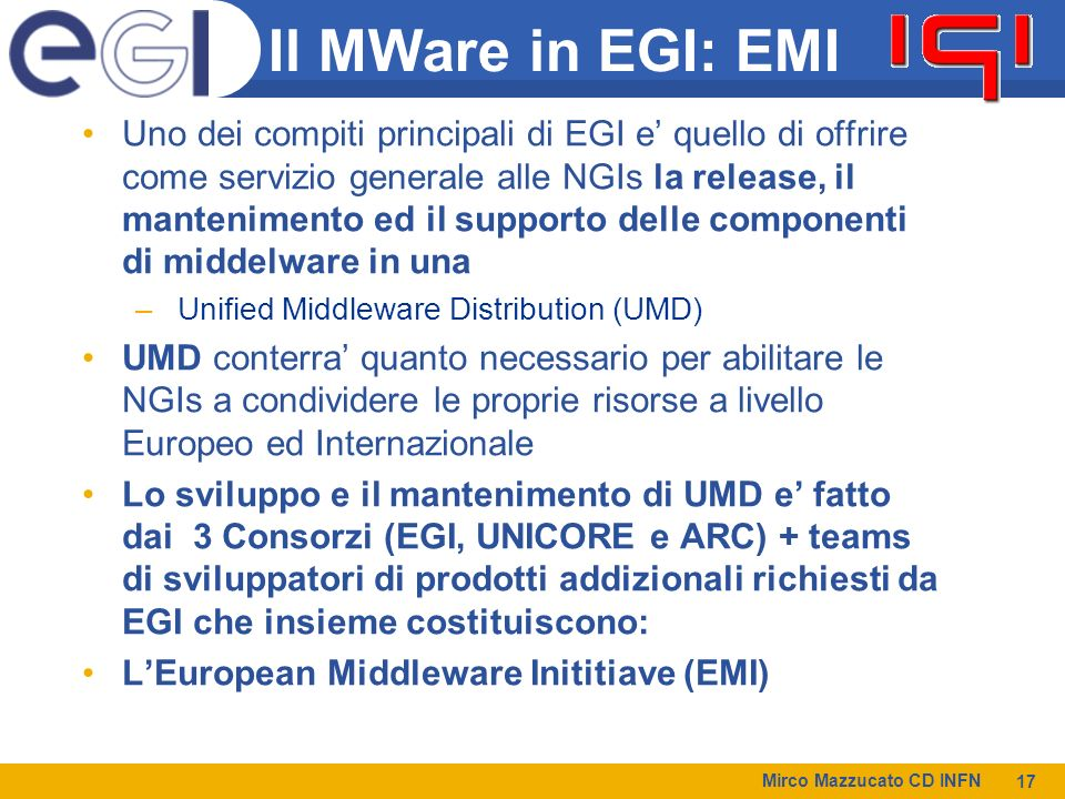 Il MWare in EGI: EMI