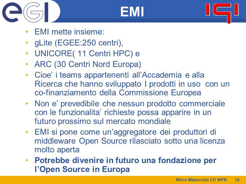 EMI EMI mette insieme: gLite (EGEE:250 centri),