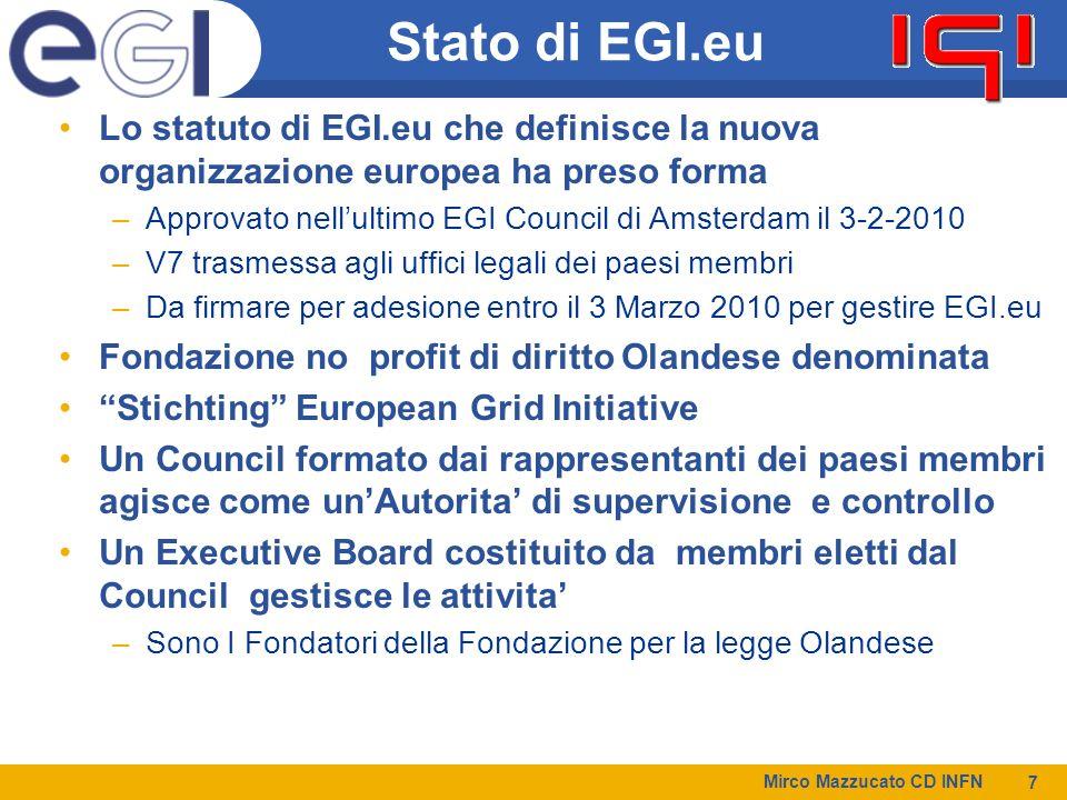 Stato di EGI.eu Lo statuto di EGI.eu che definisce la nuova organizzazione europea ha preso forma.