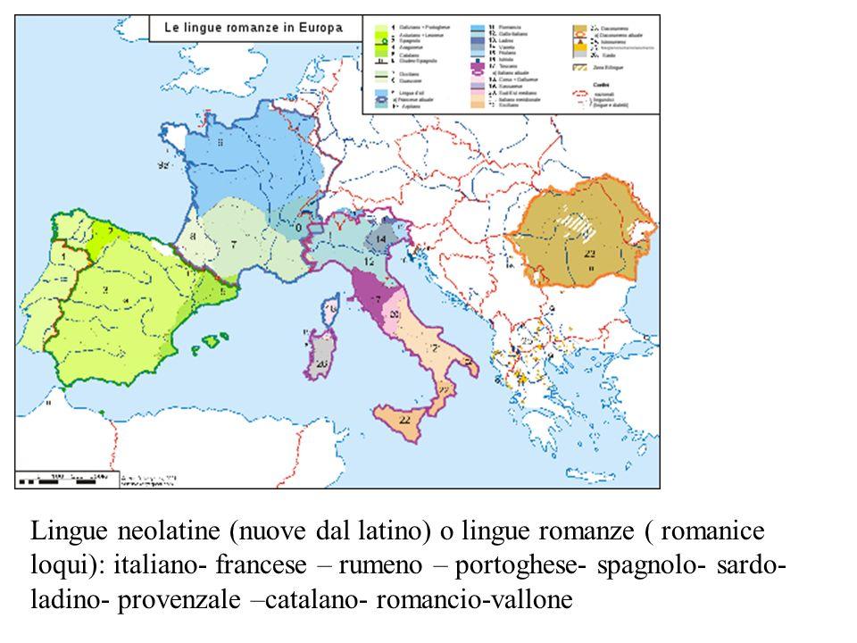 Lingue neolatine (nuove dal latino) o lingue romanze ( romanice loqui): italiano- francese – rumeno – portoghese- spagnolo- sardo-ladino- provenzale –catalano- romancio-vallone